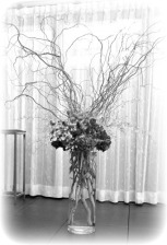 floral stantion at front bw